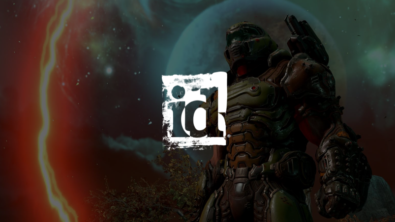 ID logo with Doom character in the background