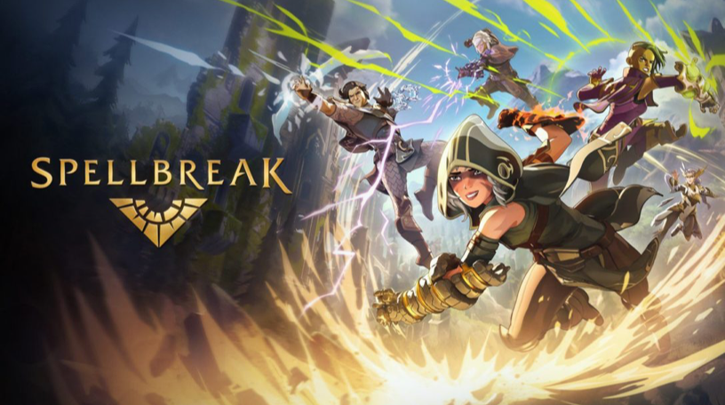 Spellbreak characters running and fighting